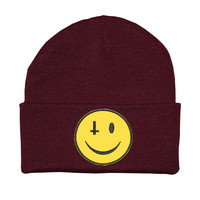 KULT Clothing — ANTI-SMILEY BURGUNDY BEANIE