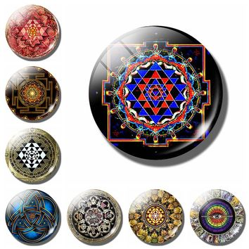 Buddhist  mandala decorative refrigerator magnets Spiritual Yoga Meditation 30MM fridge magnet flower of life ethnic souvenir