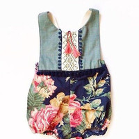 Newborn Infant Baby Girl Cotton Floral Patchwork Romper Sleeveless Tassel Jumpsuit Sunsuit Outfit Clothes