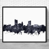 Fort Wayne Print, Fort Wayne Skyline, Fort Wayne Indiana, Office Decor, Office Art, Watercolor Skyline, Watercolor City Print, ArtPrintZone