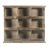 Vintage Wooden Wall Storage Unit With 9 Cubbies