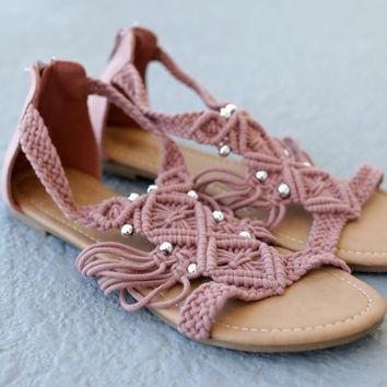 Glad You Came Mauve Crochet Gladiator Sandals