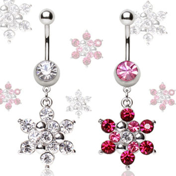 316L Surgical Steel Navel Ring with Snowflake Dangle