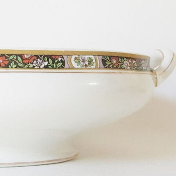 Antique Bowl Covered Bowl Handled Casserole Dish 1890 Covered Vegetable Serving Bowl English China Gold Floral Rim Oval Footed Serving Bowl