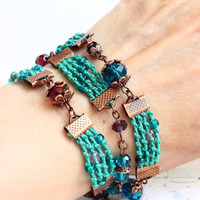 Turquoise Bracelet and Necklace in one / Bohemian Wrap Bracelet / Crystal Beads Bracelet / Boho Bracelet / Turqoise Necklace