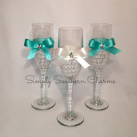 4 Personalized Tiffany's Inspired Wedding Champagne Glasses, Bridesmaid and Maid of Honor Glasses