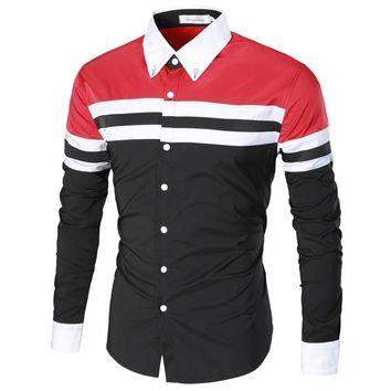 High Quality Men Shirt  Fashion Brand Men'S Patchwork Wild Long-Sleeved Shirt Male Camisa Masculina Slim Chemise Homme