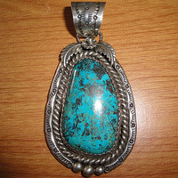 Vintage Native American Very Large Heavy Turquoise Pendant Signed Marcella James