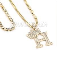Crown H Initial Pendant Necklace Set