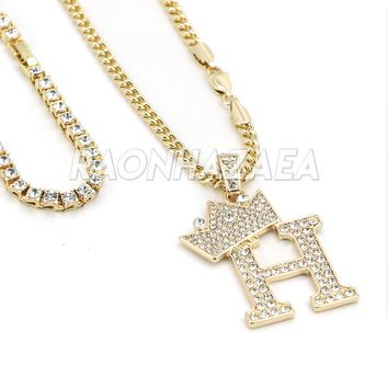 Iced Out Crown H Initial Pendant Necklace Set