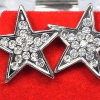 14k White Gold Plated Pave Stud Star Earrings Cubic Zirconia Hip Hop Screw Back
