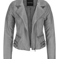 asymmetrical moto jacket with side buckles