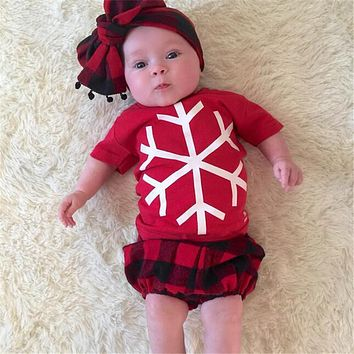 Toddler Print Plaid Clothing Baby Boys Girls Christmas Snowflake Outfit Shirt Pants Set