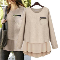 Long-Sleeve Zipper Pocket Chiffon Sweater