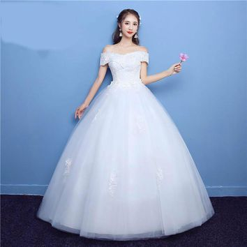 Boat Neck Color Lace Embroidery Flower Big Train Wedding Dress Princess Bead