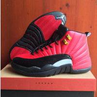 Air Jordan 12 Retro AJ12 Black/Red Sport Shoes 41-47