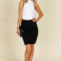 Everyday Classic Pencil Skirt Black