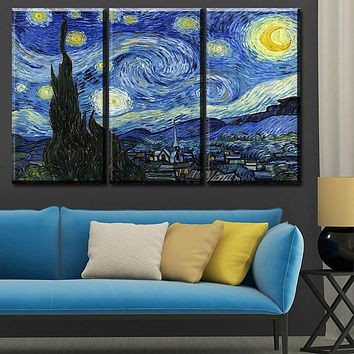 3PCS  Canvas  No Frame Starry night Wall Painting Vincent Willem Van Gogh