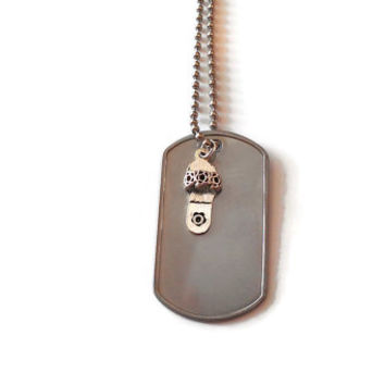 Silver Charm Necklace Cinderella Slipper MIlitary Army Women Teenage Girls Gift FREE ENGRAVING Metal Dog Tag Steel Love Birthday Deployment