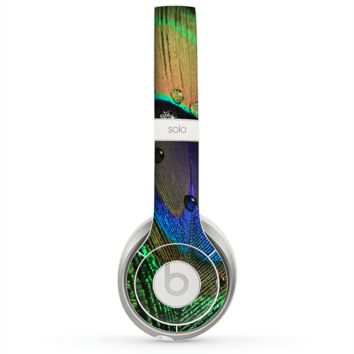 The Watered Neon Peacock Feather Skin for the Beats by Dre Solo 2 Headphones