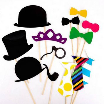 New Fun Photo Booth Props Mustache Party Masks On A Stick Wedding Party Favor 58pcs