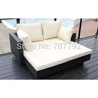 2017 living room outdoor furniture double lounger in black flat weave