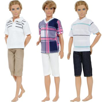 Handmade 3 Sets/Lot Outfits Mixed Style Daily Wear Plaid Stripe Shirt Trousers Clothes For Barbie Doll Friend Ken Accessories