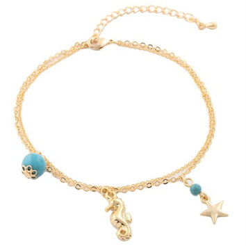 Goldtone with Turquoise Dangling Seahorse Star and Ornament Bead Charm Double Adjustable Anklet