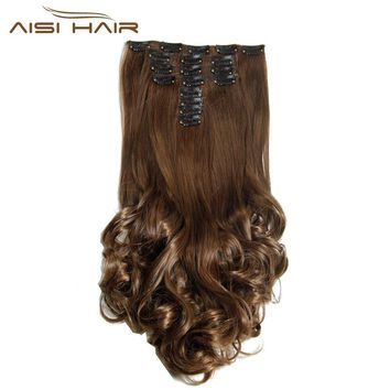 "18"" 8 Piece / Set High Temperature Fiber Curly Synthetic Clip in Hair Extensions for Women"
