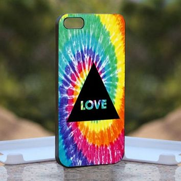Tye Dye Grunge Hippie Peace, Print on Hard Cover iPhone 5 Black