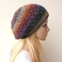 Slouch Beanie Slouch Hat Slouchy Beret Multicolor Tam Wool Hat Winter Hat in Variegated Yarn in Rich Earthy Colors