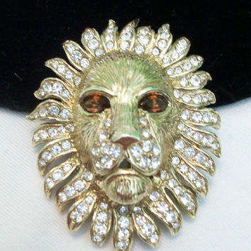 ATWOOD SAWYER AS Vintage Lion Cat Figural Gold plate Glass Rhinestone Brooch Pin