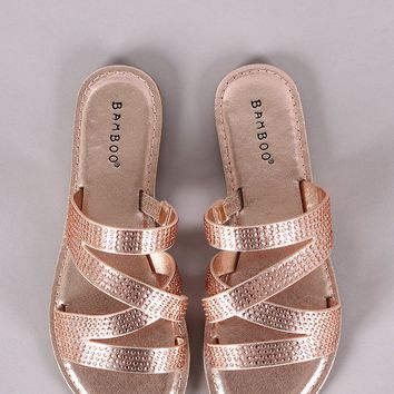 Bamboo Rhinestone Accent Strappy Slide Sandal