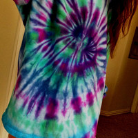 Long Sleved Hippie Tie Dye Purple Blue and Green T Shirt