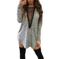 Heather Grey Deep V Neck Grommet Lace Up Mini Dress