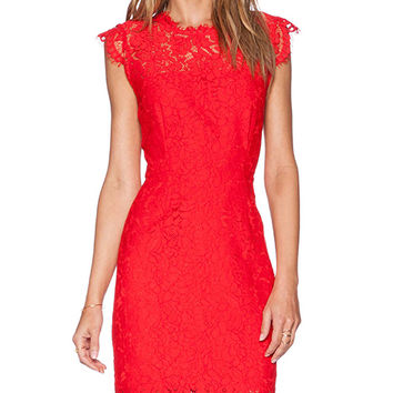 RACHEL ZOE Suzette Lace Dress in Red