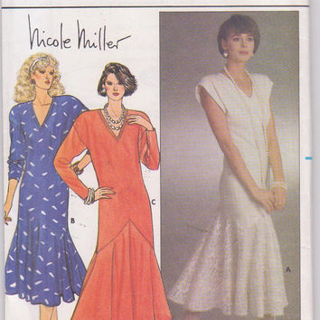 Vintage 1980s pattern for Nicole Miller flapper-style dress long or cap sleeves with hem flounce misses size 12 14 16 Butterick 3162 UNCUT