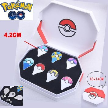 Pokeball Pins Badges Set Of 7 Go Pins Kanto Badges Metal Pins+Box Cosplay Collection Box Gift For Kids AdultKawaii Pokemon go  AT_89_9