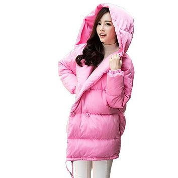winter new women loose coat fashion cute parkas hooded jacket overcoat long section casual down cotton coat large size coat