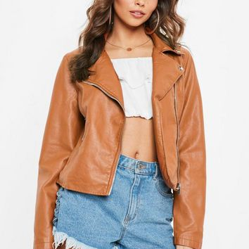 Missguided - Tan PU Biker Jacket