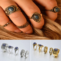 Bohemian 5pcs Pack Vintage Auspicious clouds Blue Crystal Rings Lucky Stackable Midi Rings Set of Rings for Women Party