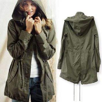 ESBC8S Green Womens Lady Hoodie Drawstring Military Trench Jacket Coat Parka Outwear