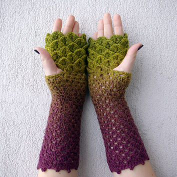 Fingerless mittens - green purple ombre spring Accessories.
