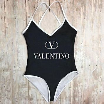 Valentino Summer Beach Fashion Women Sexy Letter Print Backless One Piece Bikini Swimsuit Black