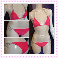 Crystal Connector Competition Bikini Swim Suit Bright Barbie Hot Pink NPC IFBB NANBF