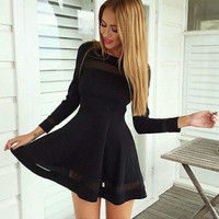 Autumn Women Mini Dress Casual Full Sleeve Evening Party A-line Short Dress