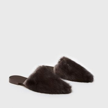 Fur Mule - Dark Brown