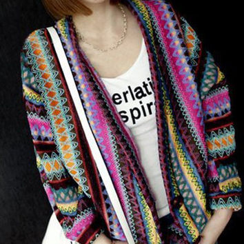 Purple Collarless Long Sleeve Tribal Print Cardigan