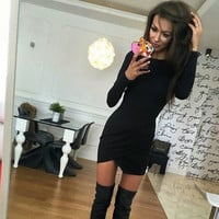 Hot Sale Round-neck Long Sleeve Skirt Irregular One Piece Dress [9571975503]