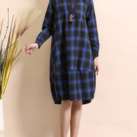 Plaid Print Long Sleeve Front Button High-Low Midi Shirt Dress